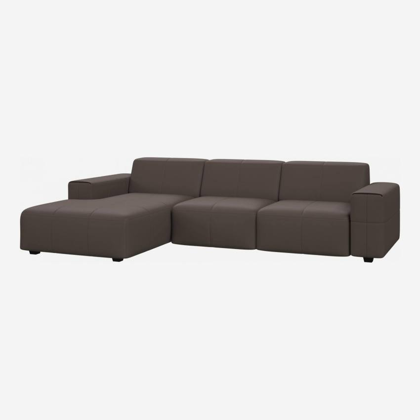 3 seater sofa with chaise longue on the left in Eton veined leather, stone