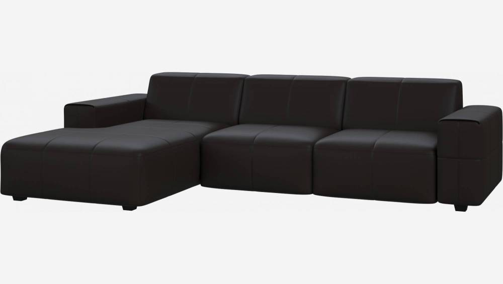 3 seater sofa with chaise longue on the left in Eton veined leather, brown