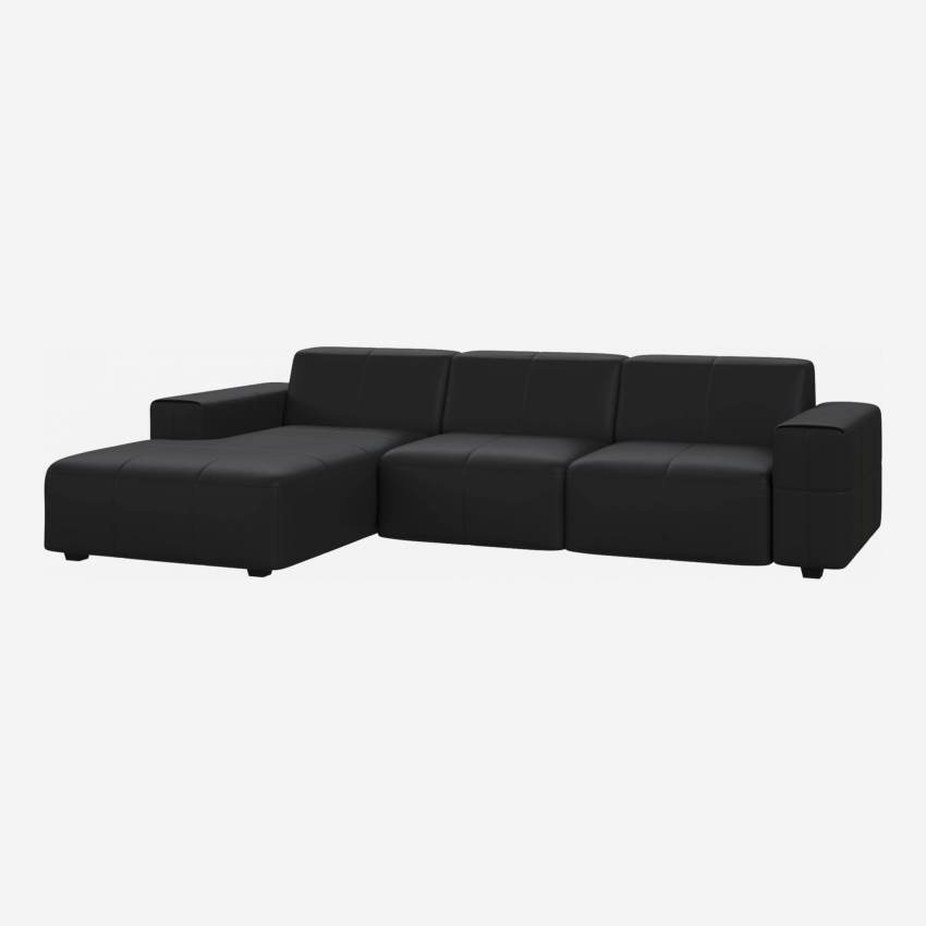 3 seater sofa with chaise longue on the left in Eton veined leather, black
