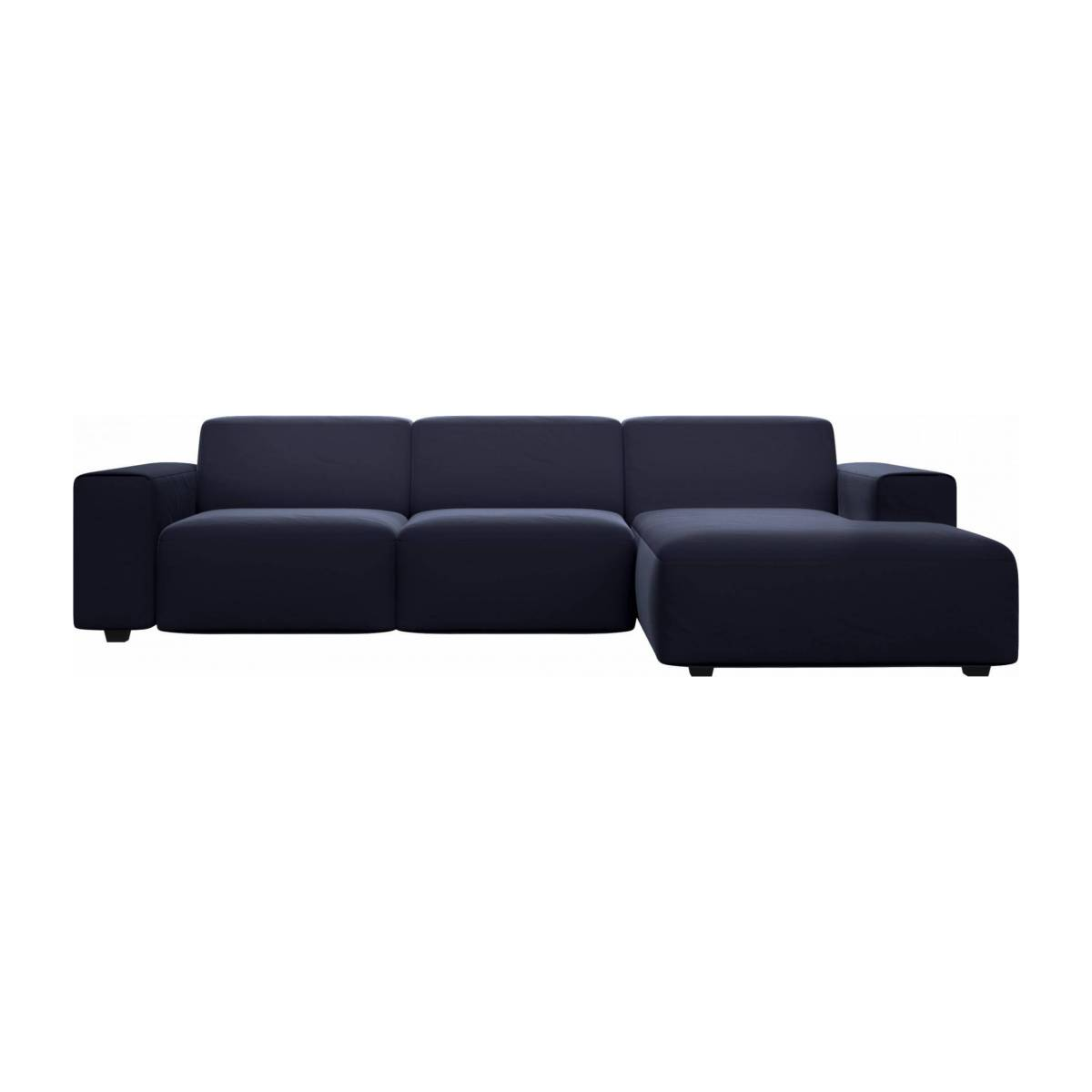3 seater sofa with chaise longue on the right in Super Velvet fabric, dark blue n°1