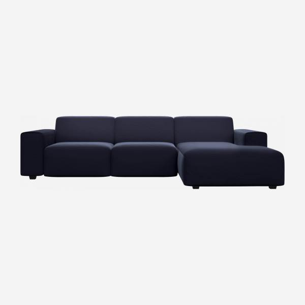 3 seater sofa with chaise longue on the right in Super Velvet fabric, dark blue