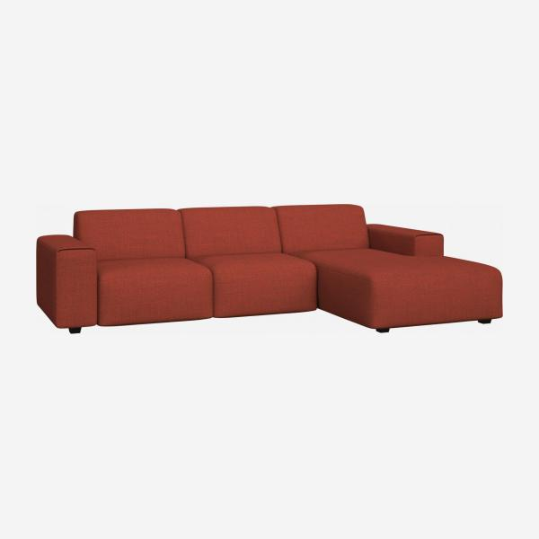 3 seater sofa with chaise longue on the right in Fasoli fabric, warm red rock