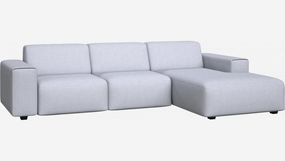 3 seater sofa with chaise longue on the right in Fasoli fabric, grey sky