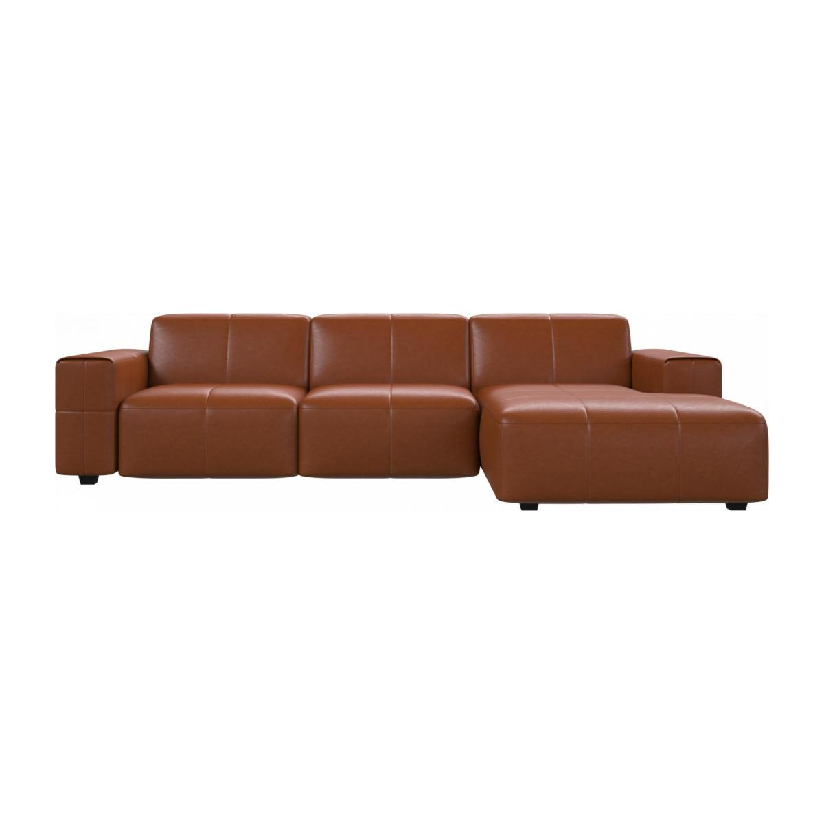 3 seater sofa with chaise longue on the right in Vintage aniline leather, old chestnut n°1