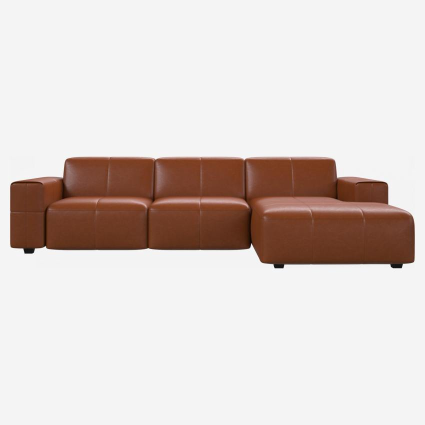 3 seater sofa with chaise longue on the right in Vintage aniline leather, old chestnut