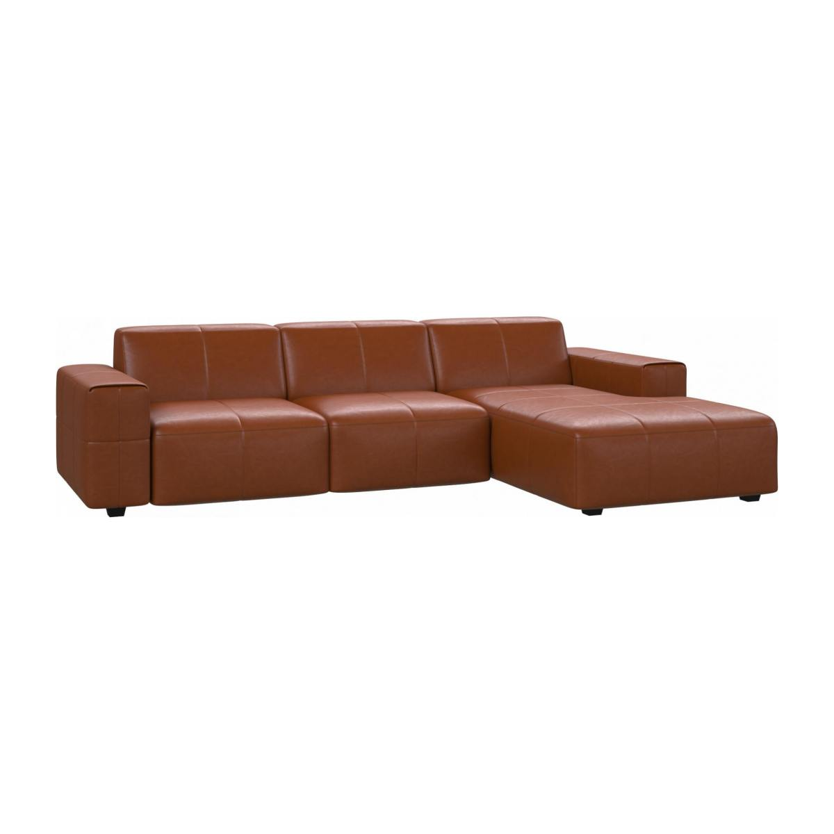 3 seater sofa with chaise longue on the right in Vintage aniline leather, old chestnut n°2
