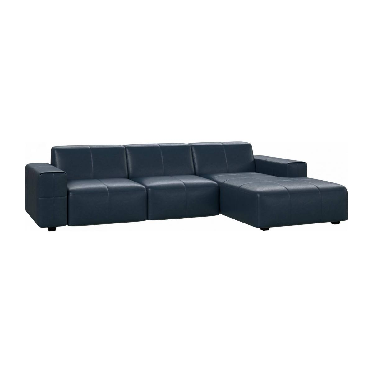 3 seater sofa with chaise longue on the right in Vintage aniline leather, denim blue n°2