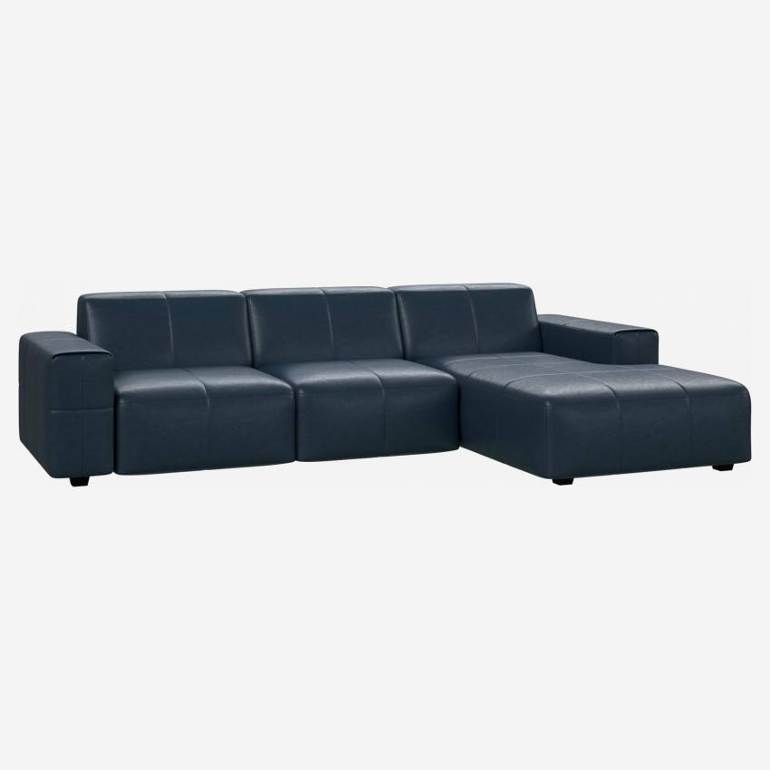 3 seater sofa with chaise longue on the right in Vintage aniline leather, denim blue