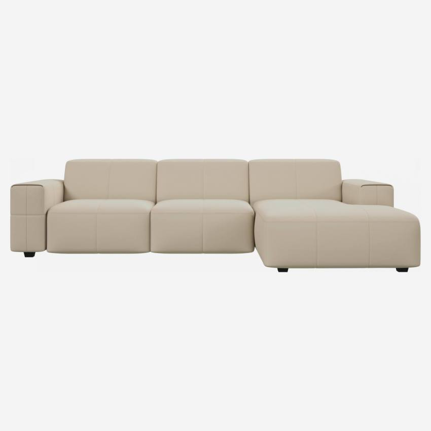 3 seater sofa with chaise longue on the right in Savoy semi-aniline leather, off white