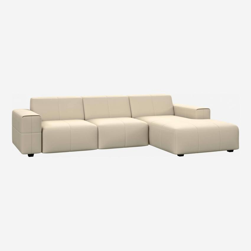 3 seater sofa with chaise longue on the right in Eton veined leather, cream