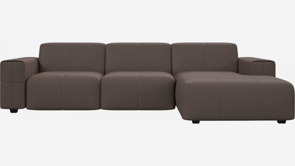 3 seater sofa with chaise longue on the right in Eton veined leather, stone