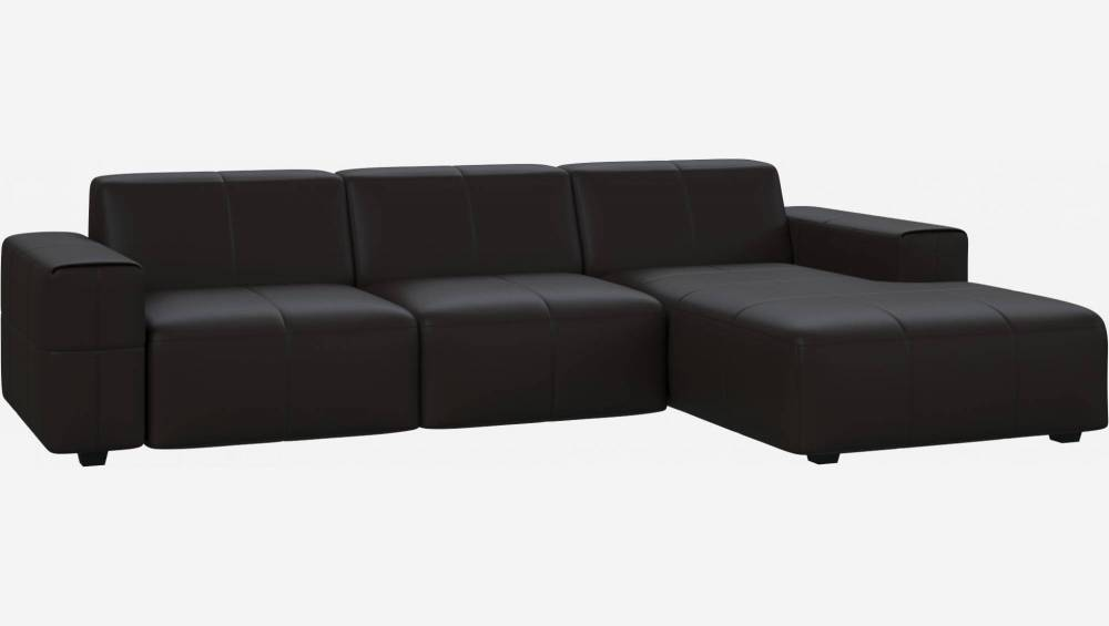 3 seater sofa with chaise longue on the right in Eton veined leather, brown