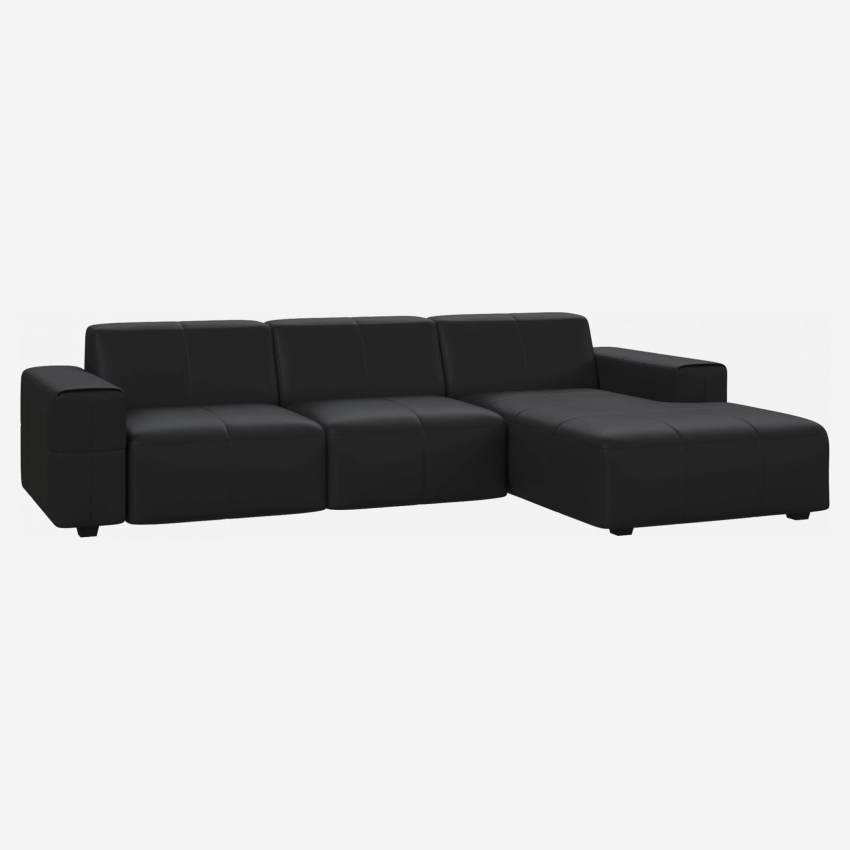 3 seater sofa with chaise longue on the right in Eton veined leather, black