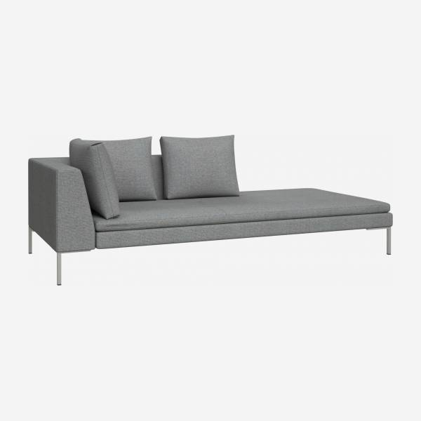 Right chaise longue in Lecce fabric, blue reef