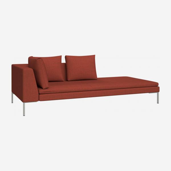 Right chaise longue in Fasoli fabric, warm red rock