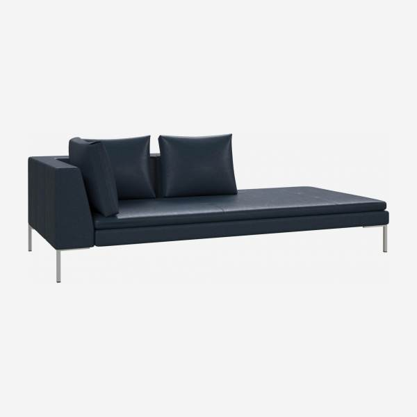 Right chaise longue in Vintage aniline leather, denim blue