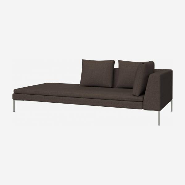 Chaiselongue, links aus Lecce-Stoff - Braun