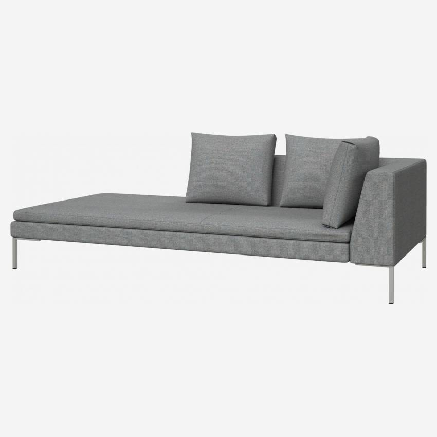 Chaiselongue, links aus Lecce-Stoff - Blaugrau