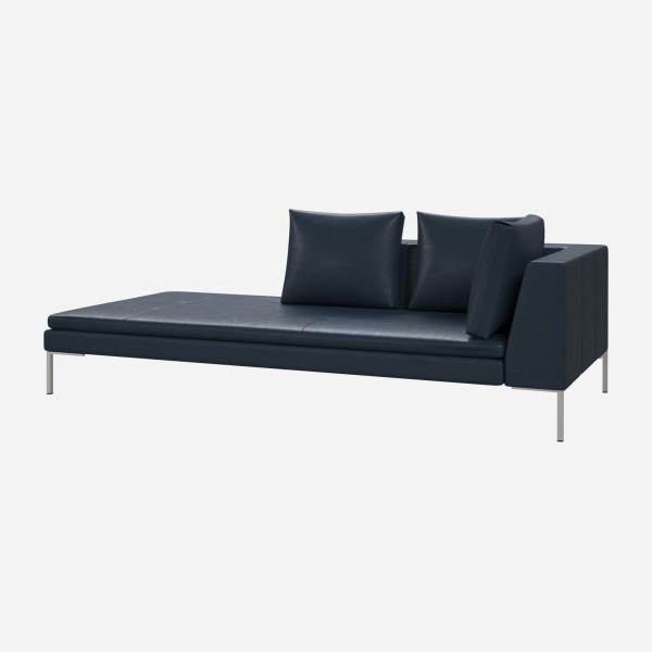 Left chaise longue in Vintage aniline leather, denim blue