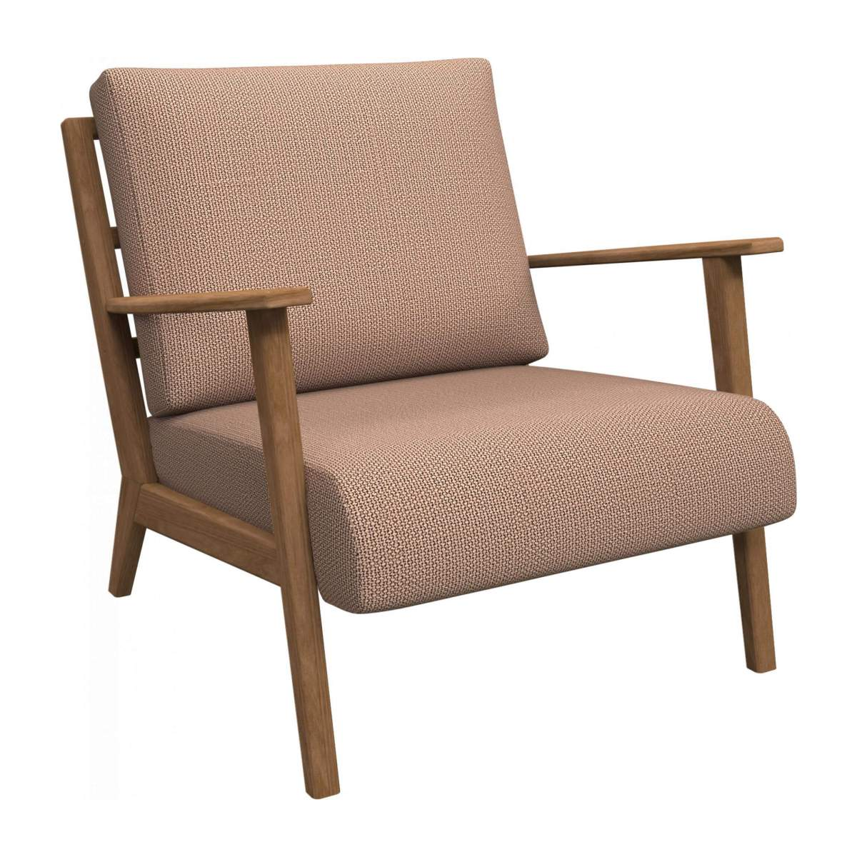 Armchair in Fasoli fabric, jatoba brown n°3
