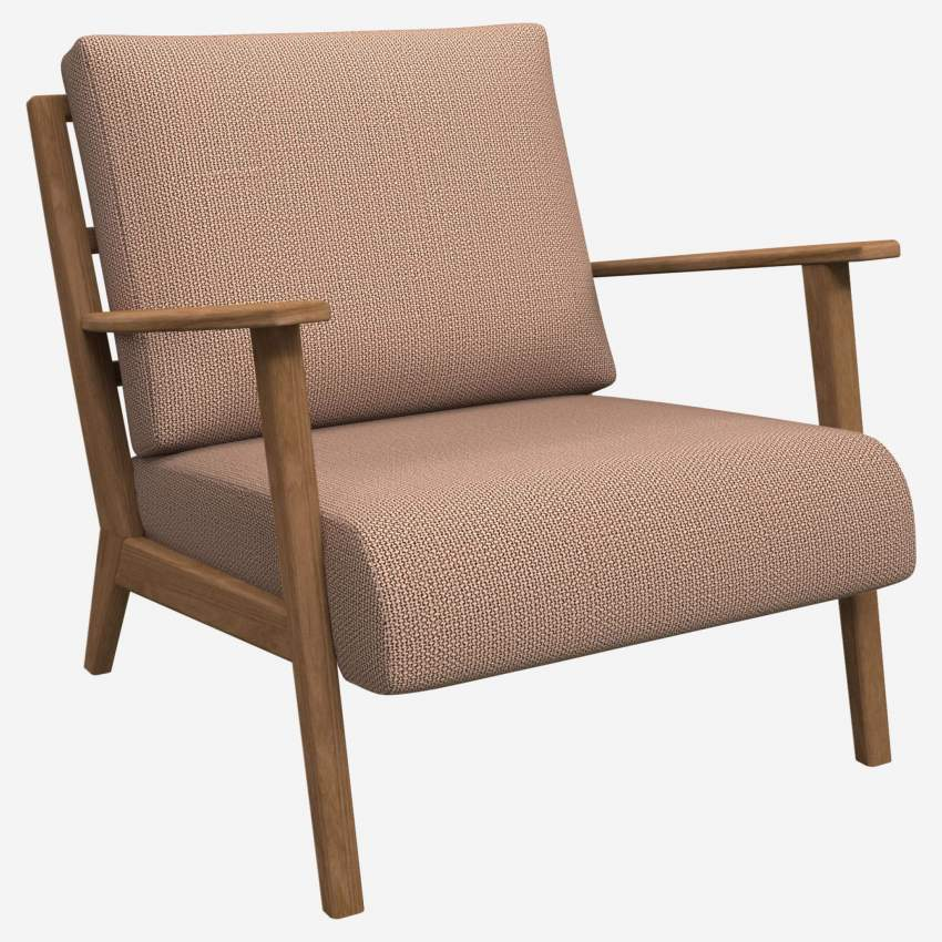 Armchair in Fasoli fabric, jatoba brown