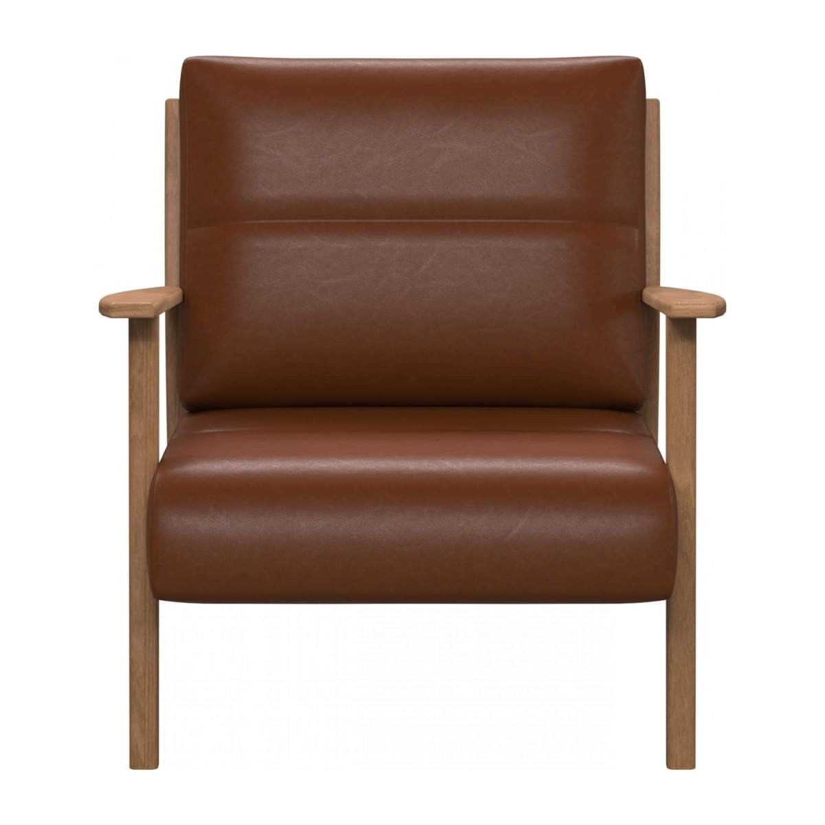Armchair in Vintage aniline leather, old chestnut n°1