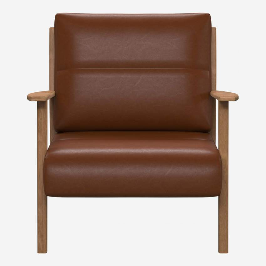 Armchair in Vintage aniline leather, old chestnut