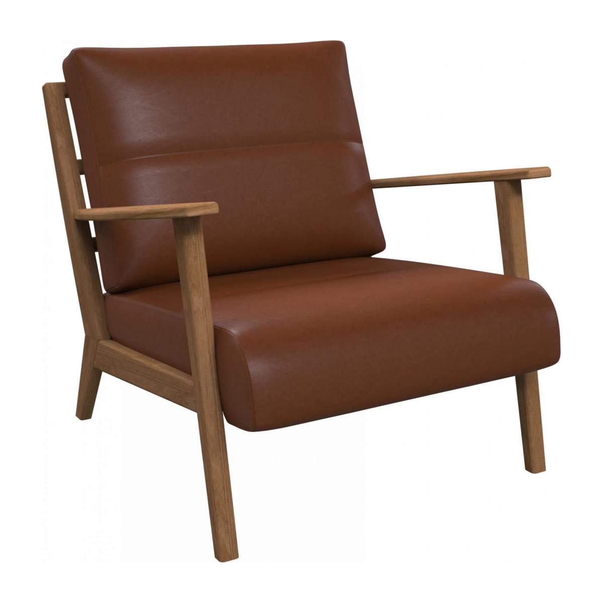 Armchair in Vintage aniline leather, old chestnut n°2