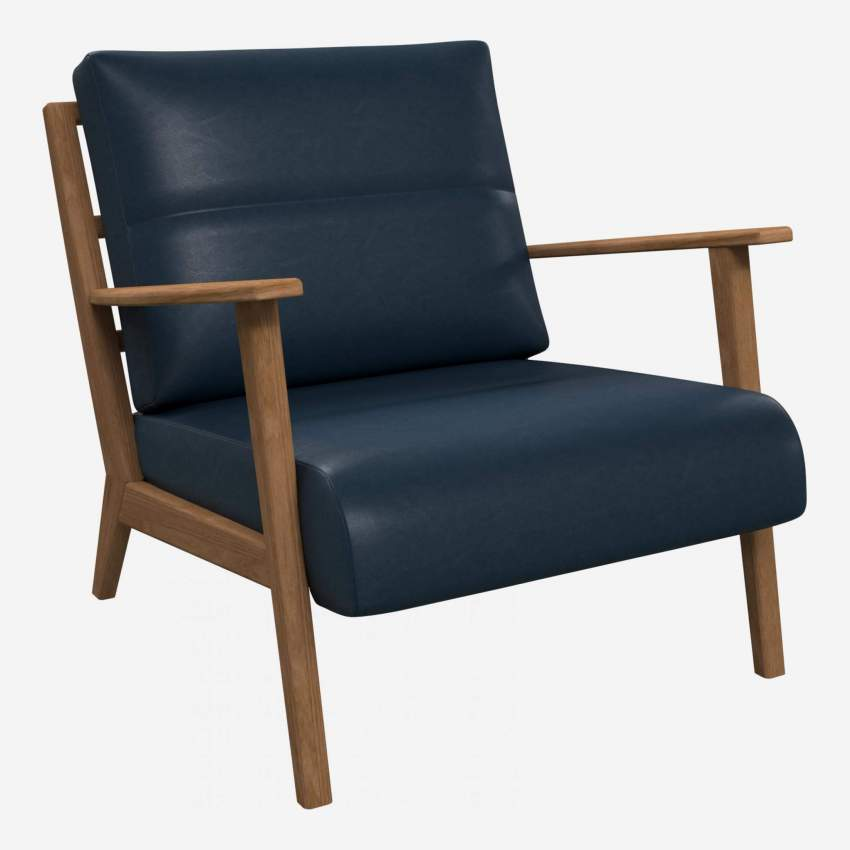 Armchair in Vintage aniline leather, denim blue