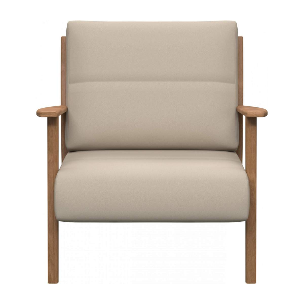 Armchair in Savoy semi-aniline leather, off white n°1
