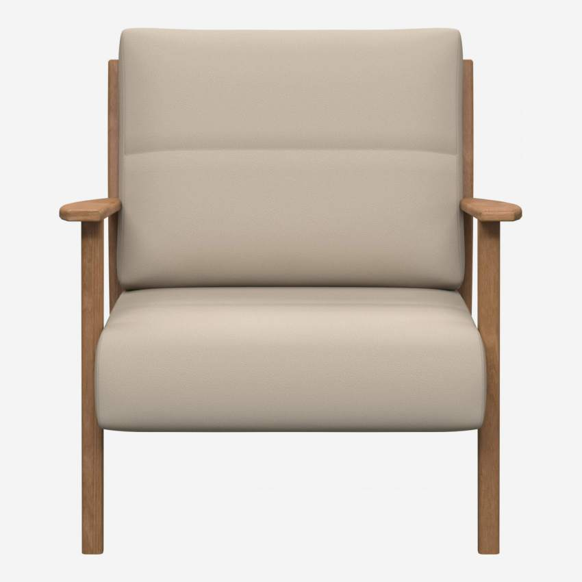 Armchair in Savoy semi-aniline leather, off white