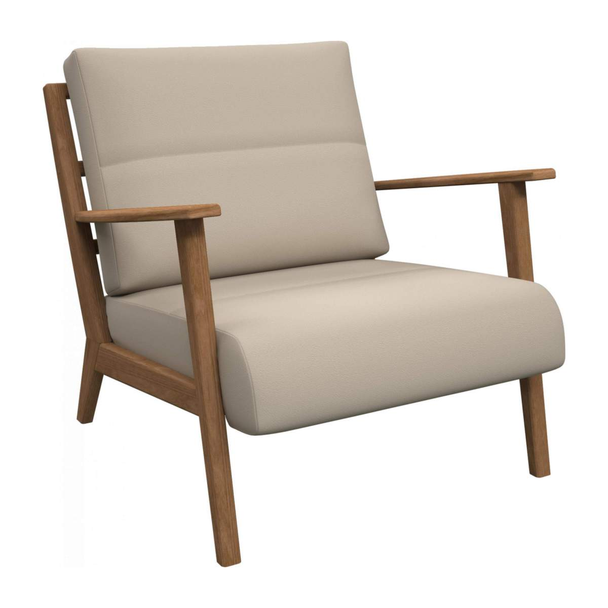 Armchair in Savoy semi-aniline leather, off white n°2