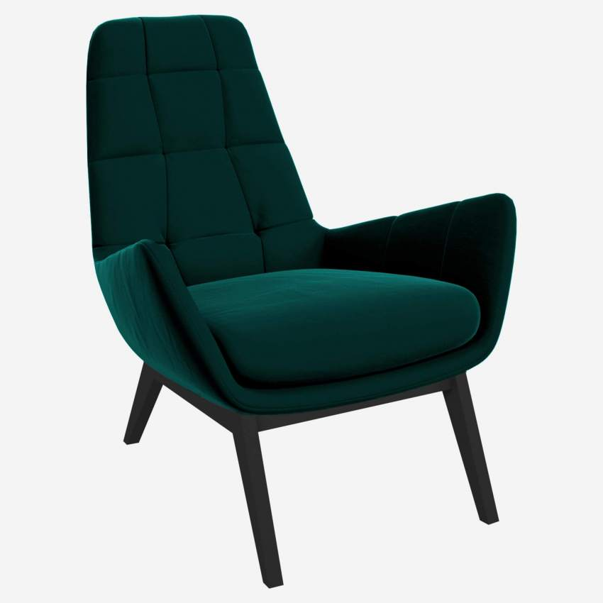 Armchair in Super Velvet fabric, petrol blue with dark oak legs
