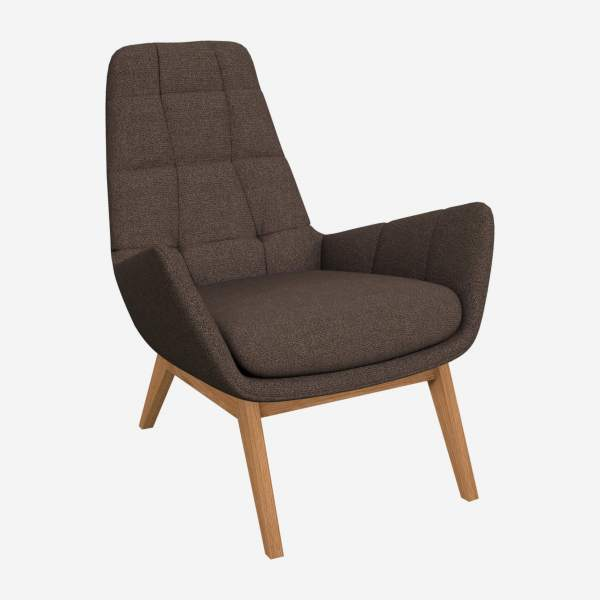 Armchair in Lecce fabric, muscat with oak legs