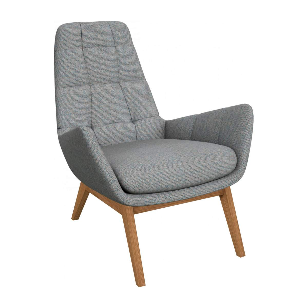 Armchair in Lecce fabric, blue reef with oak legs n°2