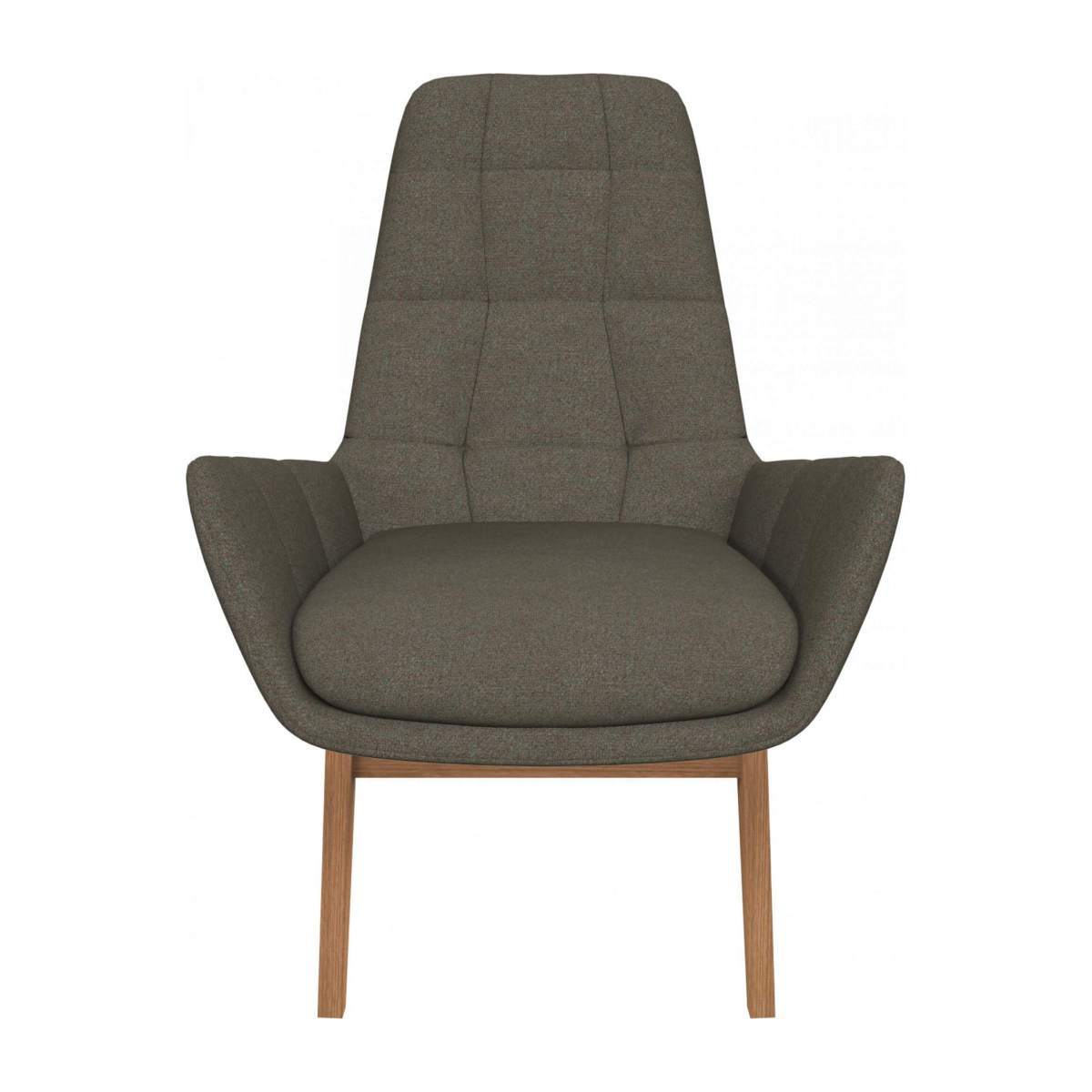 Armchair in Lecce fabric, slade grey with oak legs n°1
