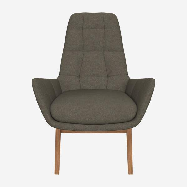 Armchair in Lecce fabric, slade grey with oak legs