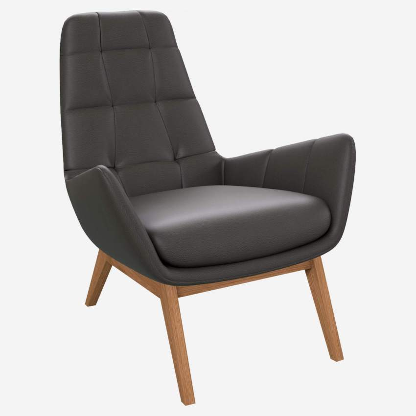 Armchair in Savoy semi-aniline leather, grey with oak legs