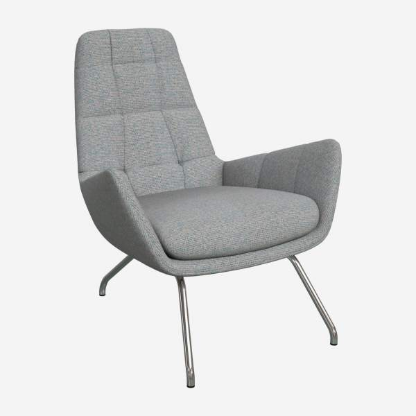 Armchair in Lecce fabric, blue reef with chromed metal legs
