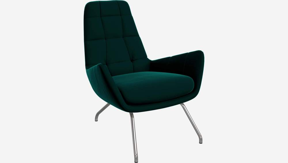 Armchair in Super Velvet fabric, petrol blue with chromed metal legs