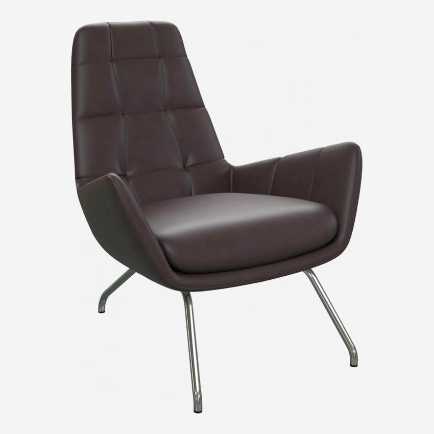 Armchair in Savoy semi-aniline leather, dark brown amaretto with chromed metal legs