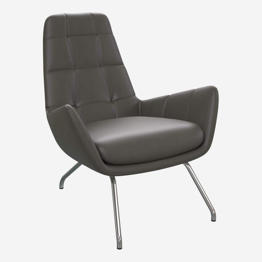 Armchair in Savoy semi-aniline leather, grey with chromed metal legs