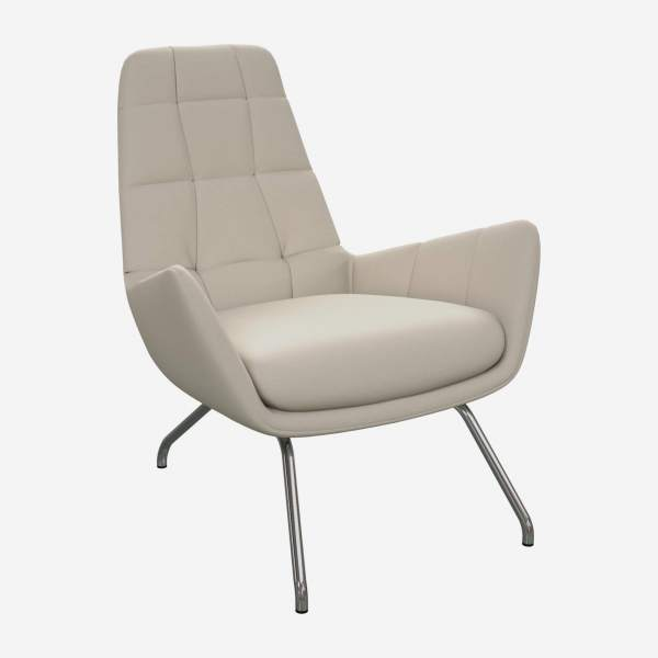 Armchair in Eton veined leather, cream with chromed metal legs