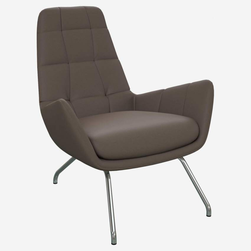 Armchair in Eton veined leather, stone with chromed metal legs