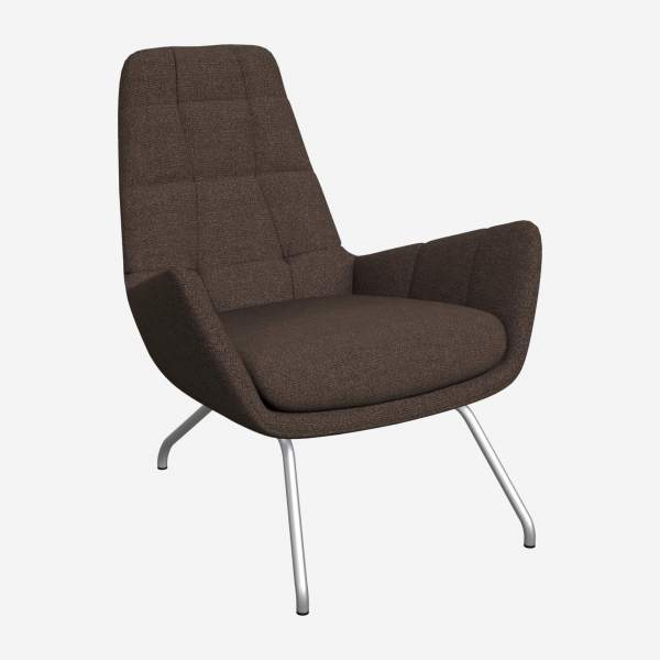Armchair in Lecce fabric, muscat with matt metal legs