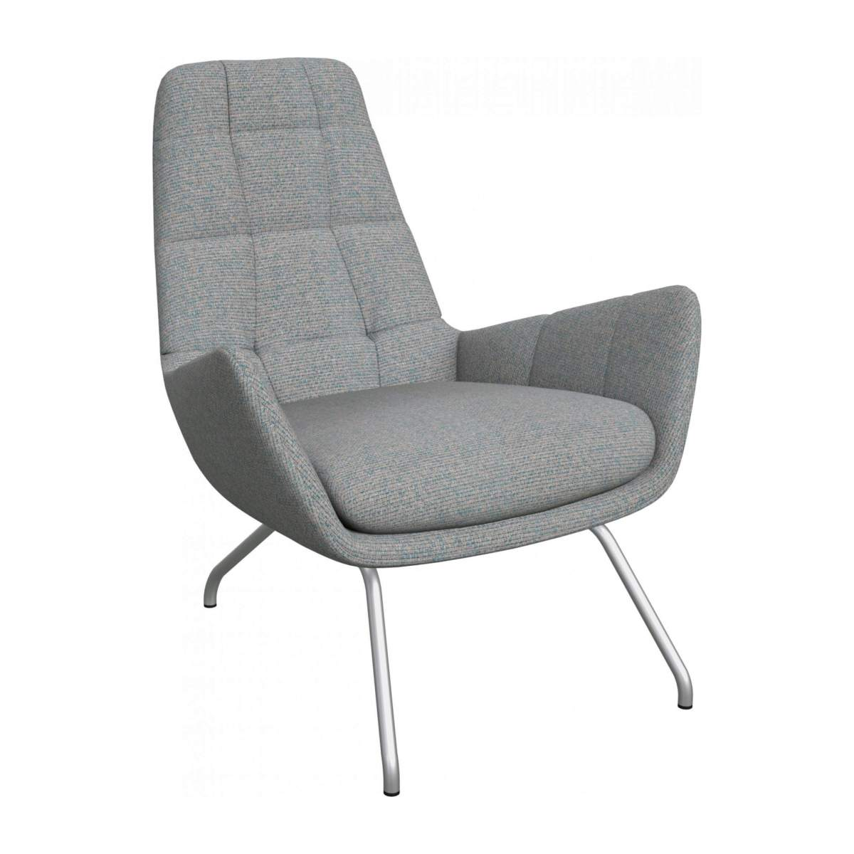 Armchair in Lecce fabric, blue reef with matt metal legs n°2