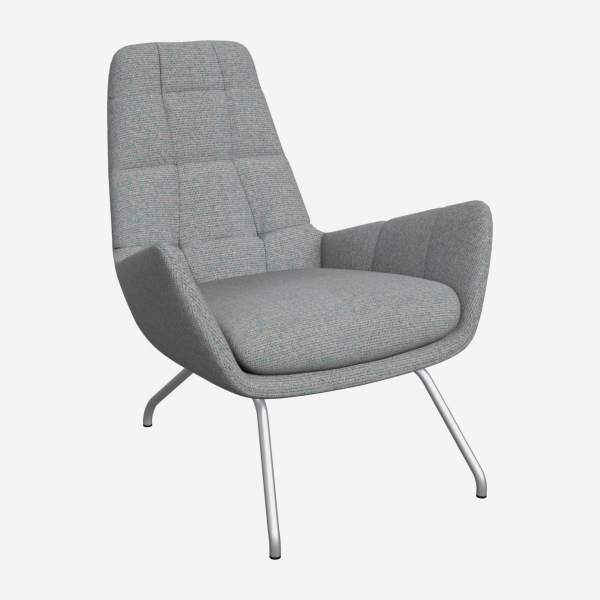 Armchair in Lecce fabric, blue reef with matt metal legs