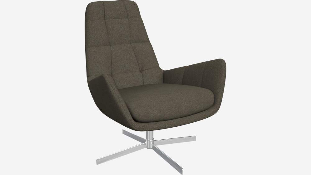 Armchair in Lecce fabric, slade grey with metal cross leg