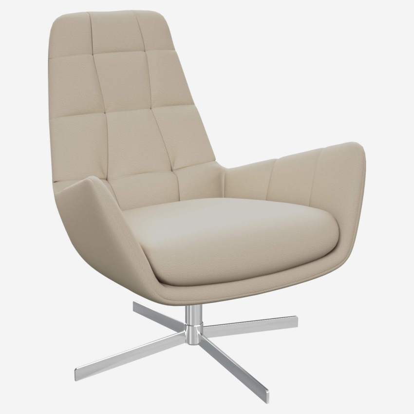 Armchair in Savoy semi-aniline leather, off white with metal cross leg