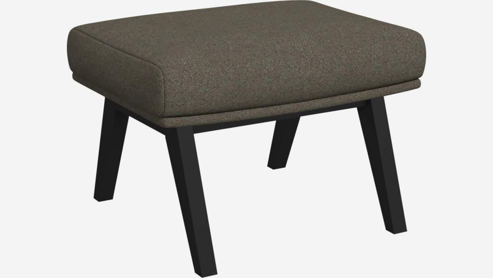 Footstool in Lecce fabric, slade grey with dark legs